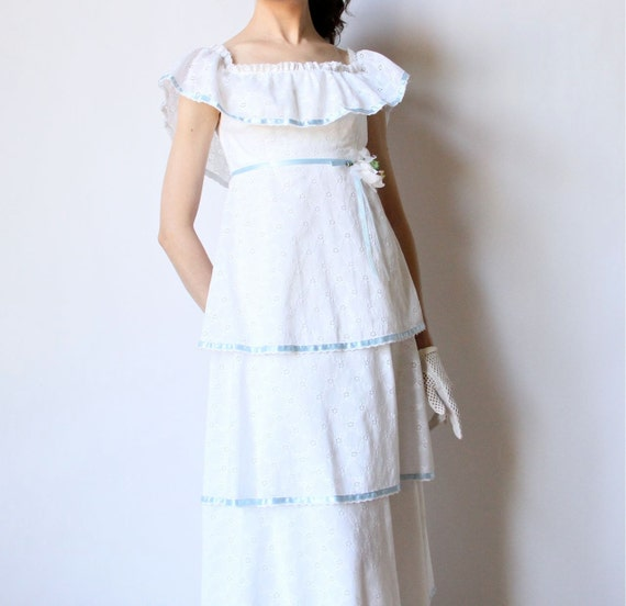 Boho hippie wedding dress 70s tiered lace maxi by for 70s style wedding dress