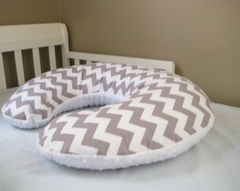 Reversible Boppy Cover with one side in Minky- Gray Chevron