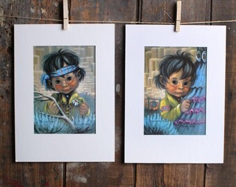 "Vintage Monte Van Horn Sad Boy Sad Girl Matted Prints, ""Peggie First to Run"" and ""Willie Hopi"""