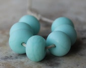 glass beads - lampwork spacer set - etched mint