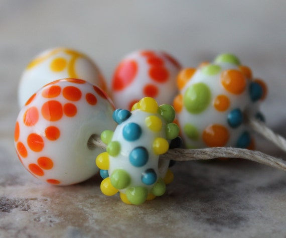lampwork orphans - tropical summer lime, tangerine, lemon and turquoise dots - five handmade glass beads