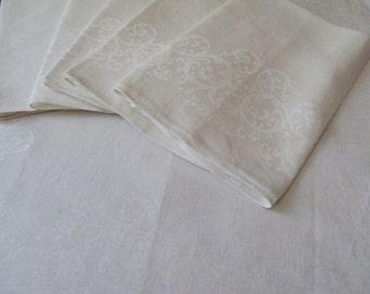 6 Vintage French White Linen Damask Napkins Scrolls Design Time for Tea