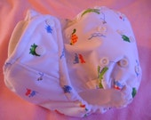 SassyCloth one size pocket diaper with later gator PUL print. Made to order.