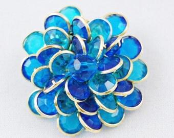 Vintage Blue Lucite Flower Brooch