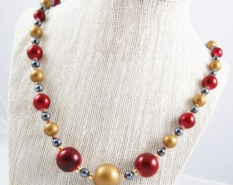 Vintage Metal Tone Beaded Necklace with Red, Gold and Gunmetal Beads