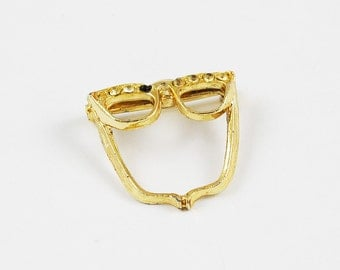 Vintage Gold Tone and Clear Rhinestone Cat's Eye Glasses Brooch