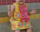 Yellow Hot Pink Retro A-line Dress with Ruffles Shoes Set Infant Outfit Baby Shoes