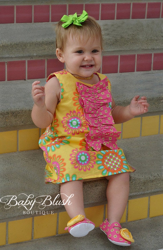 yellow pink retro a line dress with ruffles shoes set