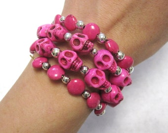 Hot Pink Sugar Skull Bracelet Day Of The Dead Jewelry