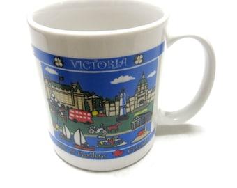 Victoria Canada Coffee Cup Mug White Blue Souvenir Canadian