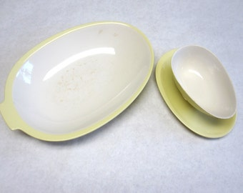 Large Serving Dish Bowl And Sauce Gravy Boat Yellow White P Regout Maastricht Holland China Ceramic
