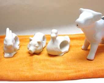 White Cow Creamer Napkin Rings Place Holders Chicken Pig Duck Rabbit Table Set