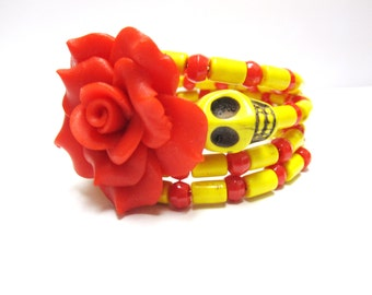 Red Yellow Sugar Skull Bracelet Day of the Dead Rose Cuff