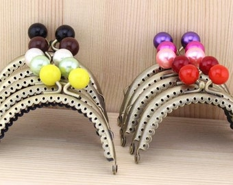 9%OFF 10pcs 8.5cm(3.35inch) Candy heads half-round purse frames bag  frame C2X(10 colors)