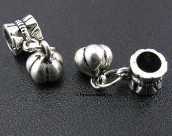 5 PUMPKIN Dangle CHARMS BEAD Halloween Fall Autumn European Bracelet Supply Gift Jewelry Supplies