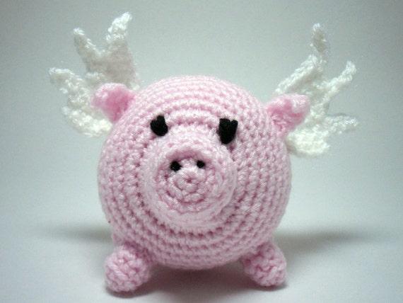 Crocheted Flying Pig Amigurumi, Pig with Wings