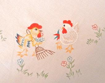 Vintage country kitchen tablecloth  - Vintage Cottage Linens - Kitchen Kitsch