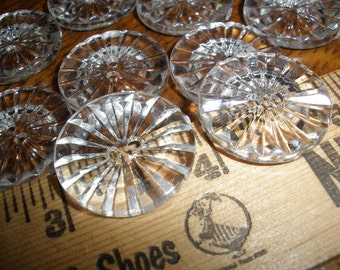"""Cool Clear Vintage Buttons  7/8"""" 22MM 2 hole crystal cut plastic Size 36L scrapbook sewing sew on crafts paper tag supply"""