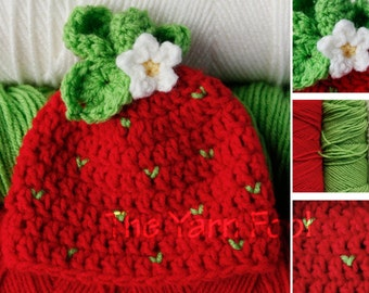 Crochet Strawberry Hat - Newborn, Infant, Child, Teen, Adult Size