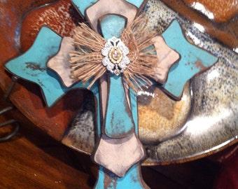 Medium Shabby Chic Turquoise Wood Cross