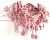 Dusky Powder Pink Scarf, Egyptian Cotton Crochet Scarf, Floral - MADE TO ORDER