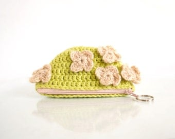 Crochet Coin Purse with Flowers in Lime Green and Peach Pink, Romantic Pouch