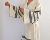 Kimono Robe Peshtemal Bath Robe Caftan Turkish Bath Towel Long Extra Soft Cotton Obi Belt Black Striped