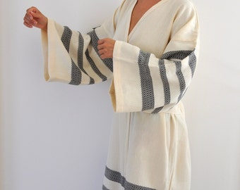 Kimono Robe Peshtemal Bath Robe Caftan Turkish Bath Towel Long Extra Soft Cotton Obi Belt Black Striped