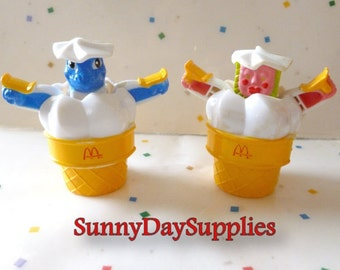 Vintage McDonalds Happy Meal Toys , Changeables /Transformers, Two Different Ice Cream Cones,  Pink one is Rare, Food Toys