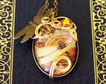 FLASH SALE-Steampunk Necklace (N170) - Wire Wrapped - Artwork Under Glass - Brass Dragonfly - Swarovski Crystal - Clockwork