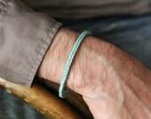 aqua leather weave bracelet for men - mens leather bracelet aqua - handwoven leather bracelet for men aqua - mens leather bracelet