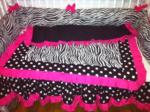 Zebra And Pink Crib Set 4 Piece Set Custom By