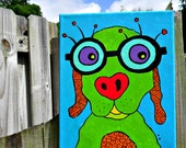 Dog with Glasses- original acrylic painting on canvas art