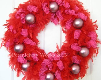 "Red Feather Valentine Wreath 18"" Clearance"