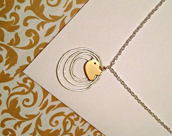 Matte Gold Baby Bird With Silver Hoop Rings Necklace, handmade jewelry
