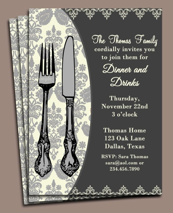 Dinner Invitation Printable or Printed with FREE SHIPPING – Dinner Party Invitation Templates