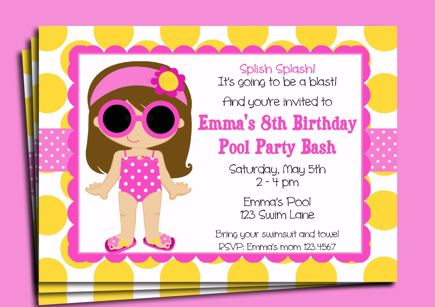 Pool Party Invitation Printable or Printed with FREE SHIPPING – Free Kids Party Invitations to Print