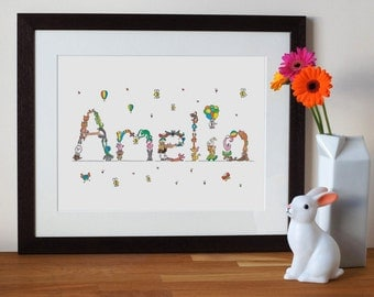custom baby name print with animal letters