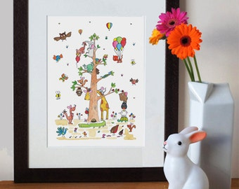 nursery art print, small tree, A4 digital print with animals