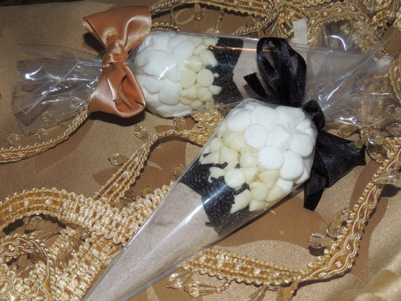 White Hot Chocolate Cocoa Cone Favors - Set of 10