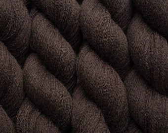 Recycled Yarn, Deep Brown Heather Lace Weight Merino yarn, 835 yards