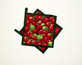 Pot Holders Apples Quilted Red and Green Set of 2