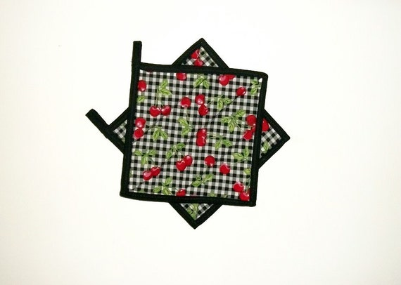 Pot Holders Cherries Black Quilted Set of 2