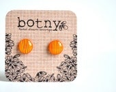 Canary Yellow and Orange Crush Very Thin Stripes Brook Earrings
