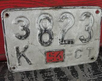 Vintage Ct License Plate 1956