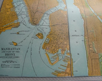 Map original antique 1911 Manhattan and part of the Bronx 10x13 inches
