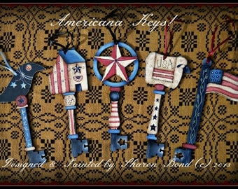 E PATTERN - Americana Keys - Crow, Star, Sheep, Flag, House - Designed & Painted by Sharon Bond - FAAP