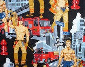 Firemen Fabric, Firemen Hunks,  Pin Up Men, Alexander Henry, Ready for Action, Over Sized, By the Yard, Cotton Fabric