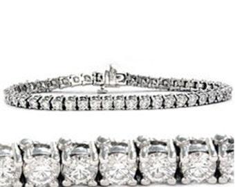 "3.00CT Diamond Tennis Bracelet 14K White Gold 7"""