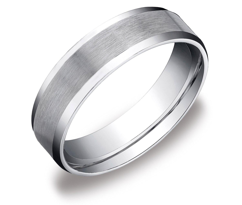 Mens Platinum Brushed Wedding Ring Comfort Fit Band 6mm